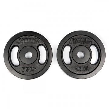 HAMMER Dumbbell Weight Discs 2x 7.5 kg, Iron (Ø 30 mm)